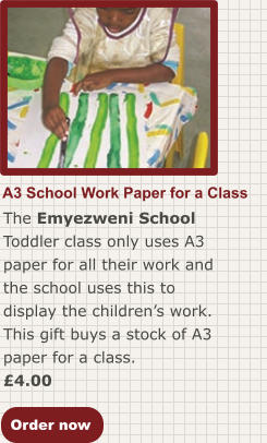 Order now A3 School Work Paper for a Class The Emyezweni School Toddler class only uses A3 paper for all their work and the school uses this to display the children's work. This gift buys a stock of A3 paper for a class. £4.00